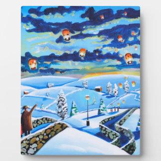 Chinese lanterns winter landscape painting plaque