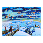 Chinese lanterns winter landscape painting postcard