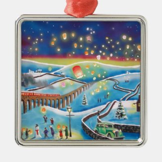 Chinese lanterns winter landscape snow scene metal ornament