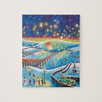 Chinese lanterns winter landscape snow scene jigsaw puzzles