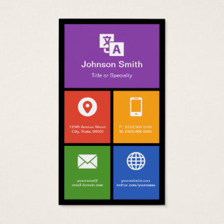 Chinese Lessons Class - Colorful Tiles Creative Business Card