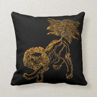 Chinese lion shishi throw pillow