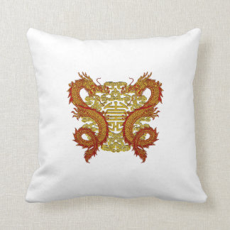 Chinese Longevity Symbol and Dragons Throw Pillow