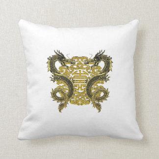 Chinese Longevity Symbol Dragons Throw Pillow
