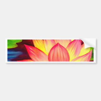 Chinese Lotus Water Lily Flower Art - Multi Bumper Sticker