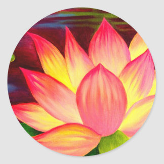 Chinese Lotus Water Lily Flower Art - Multi Classic Round Sticker