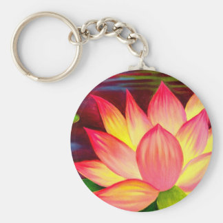 Chinese Lotus Water Lily Flower Art - Multi Keychains