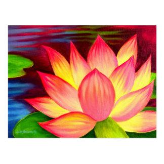 Chinese Lotus Water Lily Flower Art - Multi Postcard