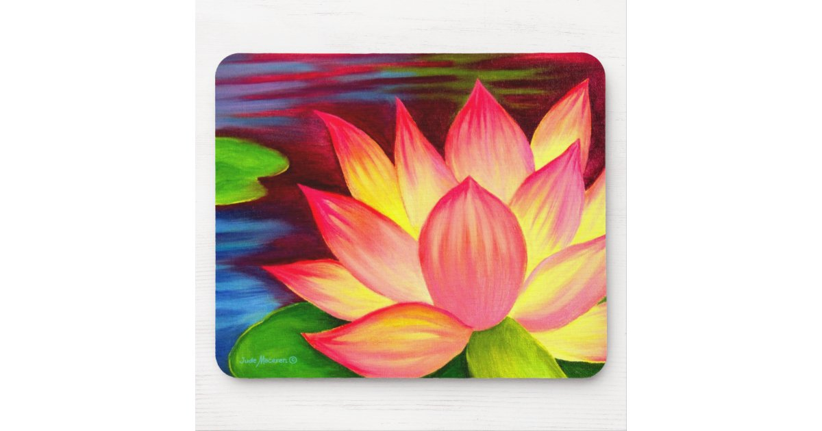 Chinese Lotus Water Lily Flower Painting Art Mouse Pad Zazzlecom