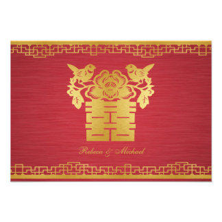 Chinese Love Birds Double Happiness RSVP Cards Invitation