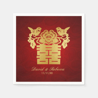 Chinese Love Birds Double Happiness Symbol Paper Napkin