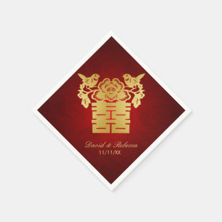 Chinese Love Birds Double Happiness Symbol Disposable Napkins