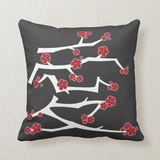 Chinese Love Heart Cherry Blossoms Sakura Wedding Throw Pillows