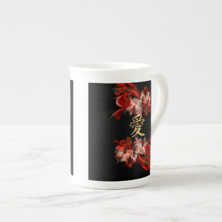 Chinese love symbol on red fractal tea cup