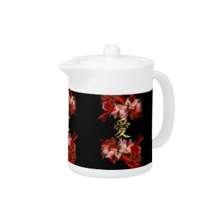 Chinese love symbol on red fractal teapot