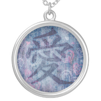 Chinese love symbol pink hearts on blue necklace