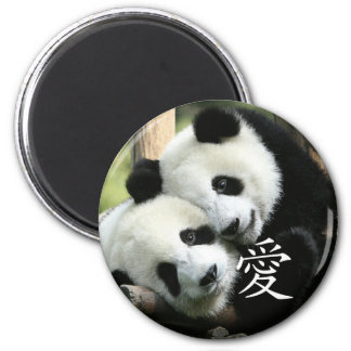 Chinese Loving Little Giant Pandas 2 Inch Round Magnet