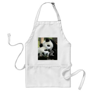 Chinese Loving Little Giant Pandas Adult Apron