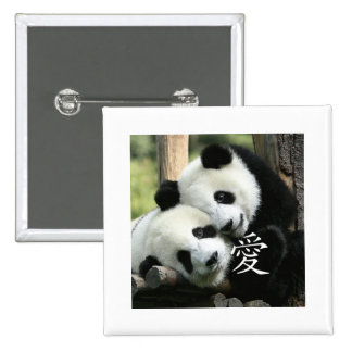 Chinese Loving Little Giant Pandas Button