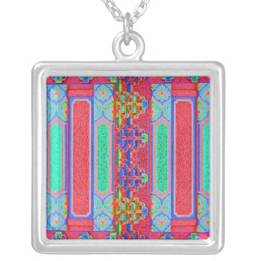 Chinese -  Magic Works Square Pendant Necklace