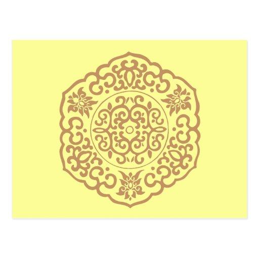Chinese Medallion yellow Postcard