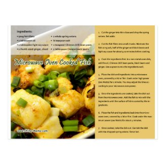 Chinese Microwave Cooked Fish Recipe Postcard