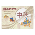 Chinese Mid-Autumn Moon Festival With Koi Carp Greeting Card