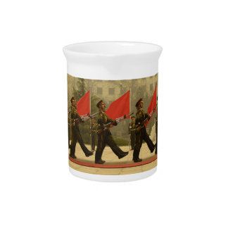 Chinese Military Honor Guard in Column Drink Pitchers