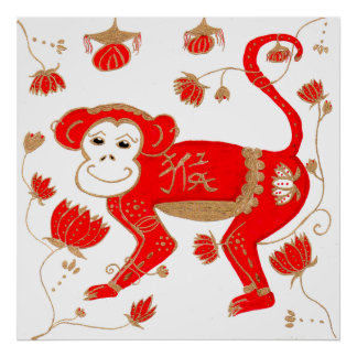 Chinese Monkey Astrology Poster