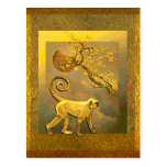 Chinese Monkey~ New Year Moon & Plum Blossoms Postcard