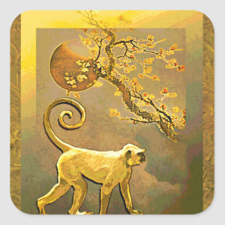 Chinese Monkey~ New Year Moon & Plum Blossoms Square Sticker