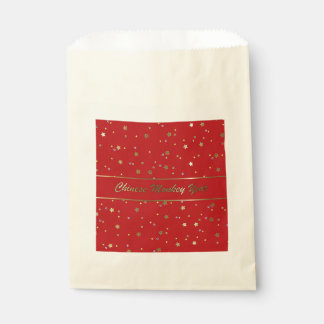 Chinese Monkey Year Golden Stars on Red Favor Bag