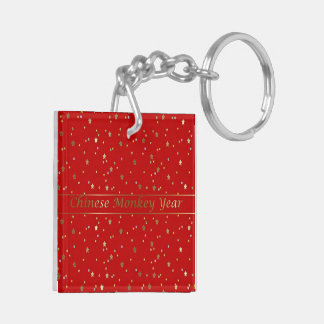 Chinese Monkey Year Golden Stars Red Keychain