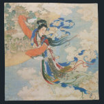 "Chinese Moon Goddess cloth napkin<br><div class=""desc"">Ink painting of Chinese moon goddess Chang&#39;e. The artist is Ren Shuai Ying. The title of the painting is &quot;Chang&#39;e Flying to the Moon&quot;</div>"