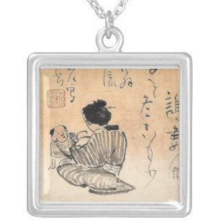 Chinese Mother and Child Square Pendant Necklace