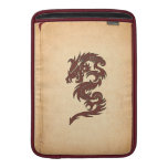 Chinese Mythology Dragon, Old Paper - Red Orange Sleeves For MacBook Air