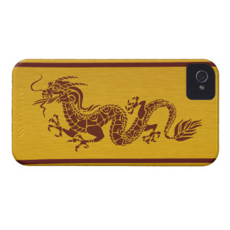 Chinese Mythology Dragon, Stripes - Red Gold iPhone 4 Covers