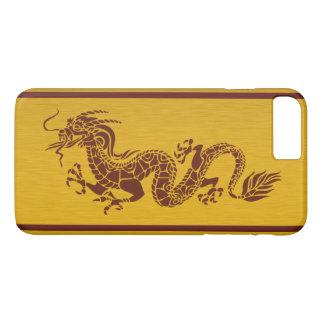 Chinese Mythology Dragon, Stripes - Red Gold iPhone 7 Plus Case