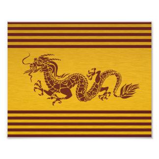 Chinese Mythology Dragon, Stripes - Red Gold Photo Print