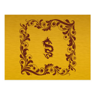 Chinese Mythology Dragon, Swirls - Red Gold Post Cards