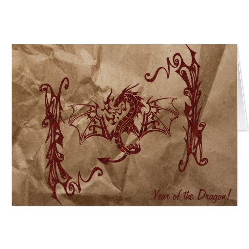 Chinese Mythology Dragon, Wrinkled Paper - Red Card