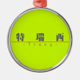 Chinese name for Tracy 20842_3.pdf Round Metal Christmas Ornament