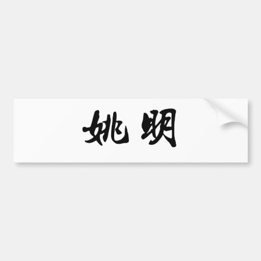 Chinese Name of Yao Ming Car Bumper Sticker