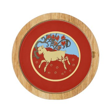 Chinese New Year 2015 Year of the Ram, Sheep, Goat Round Cheeseboard at Zazzle