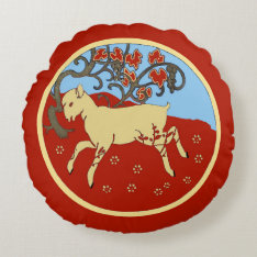 Chinese New Year 2015 Year Of The Ram, Sheep, Goat Round Pillow at Zazzle
