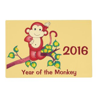 Chinese New Year 2016 Monkey Laminated Placemat