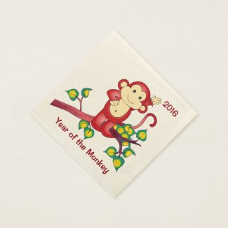 Chinese New Year 2016 Red Monkey Paper Napkins