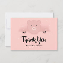 Chinese New Year 2019 Earth Pig in a Bow Tie Thank You Card