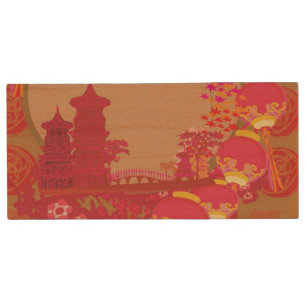 chinese new year card traditional lanterns 2 wood usb flash drive