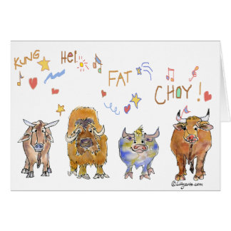 Chinese New Year Cartoon Ox Cards